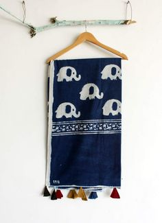 It's a Cotton hand block printed indigo dupatta with traditional elephant print on it. With beautiful tussles on it #chhapa