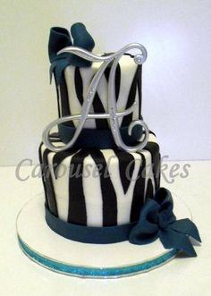 Mini zebra cake, feeds 10-14 ppl. This is red velvet cake tinted teal to match the fondant accents  as well as the party girls dress.