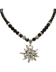Bavarian Pearl Necklace Rhinestone Edelweiss (black) - Traditional German Dirndl, Lederhose Jewelry