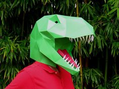Need a Halloween Mask? Make a T-Rex mask from paper, card stock, or cardboard with this PDF template!  This mask is designed to simply slip over the head and is sized for an average adult. Child size also included*. Paint the finished mask however you like to create your personalized project.  Submit shots of your completed mask at http://MisterT-Rex.Tumblr.com/ or view what others have been doing!  Now includes two versions: T-Rex and T-Rex Lite! T-Rex Lite takes 30% less paper and 50%…