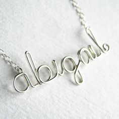 Silver Name Necklace. Custom Name Necklace. Sterling Silver Name Necklace. Personalized Calligraphy Lowercase Wire Script Name Necklace Wire Necklace, Wire Jewelry, Unique Jewelry, Jewellery, Little Girl Birthday, Birthday Gifts For Girls, Wire Tutorials, Dear Daughter, Custom Name Necklace