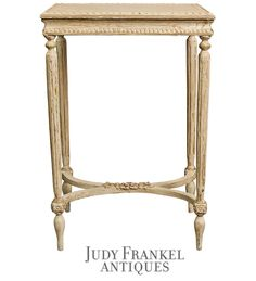 French Side Table with Antique White Painted Finish