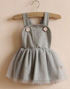 e83f3190fc Baby Girl Overall Skirt Dress Tutu skirt Gray 9m-5y