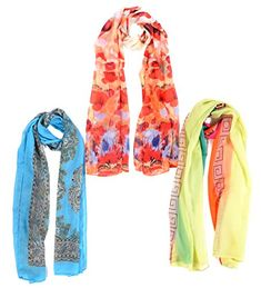Salutto Womens 3 Pcs Set Chiffon Scarf Soft Fashion Scarves Shawl Wrap 2. Material:Chiffon, 3 pcs a set. Size: 59.05 * 17.71 inches( 150 * 45 cm ). The trendy and fashion pattern,matching well with any clothes,good Sports Accessory. Light weight,handy,quick drying,These bright and colorful scarves will match any outfit. Perfect for matching casual or dress,and great for events,evening,wedding.