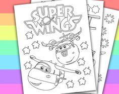 DIGITAL - INSTANT DOWNLOAD PRINTABLE COLORING PAGE  This listing give you a series of 4 printable coloring pages of SUPER WINGS. You can use these coloring pages for your children's birthday party, or a small party in the classroom if you are a...