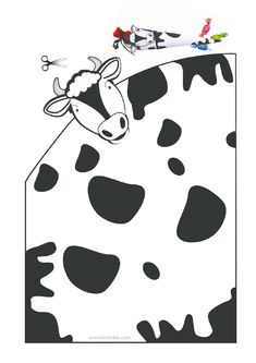 printables for kids Toddler Crafts, Preschool Crafts, Paper Crafts For Kids, Arts And Crafts, Year Of The Cow, Cow Craft, Origami, Cowboy Birthday Party, Cow Pattern