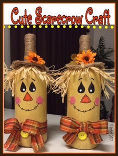 16 Fun DIY Scarecrow Crafts For Fall Decorating - DIY & Crafts bottle crafts scarecrow 16 Fun DIY Scarecrow Crafts For Fall Decorating Easy Fall Crafts, Fun Diy Crafts, Cork Crafts, Fall Diy, Crafts For Kids, Scarecrow Crafts, Halloween Crafts, Holiday Crafts, Vintage Halloween