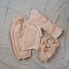 Our layette set combines three of our most popular items for babies into one package. All made from the finest 100% Japanese gauze and sewn with fine precision, these are pieces meant to be treasured.