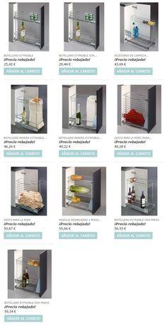Accesorios extraibles para interior de armarios de cocina. Promoción en la tienda www.casaenorden.com - 50%.