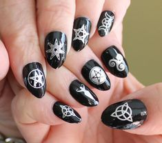 Wiccan Nail Art Symbols Witch Gift Witchy Gothic Waterslide Transfer Megapack 57 Silver Mixed Decals For Black Nails