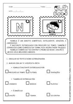 Alfabetizando com Mônica e Turma: Atividades de interpretação com personagens - M, N, O