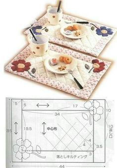 식탁매트 in kitchen how to place 식탁매트 Easter Placemats, Christmas Placemats, Mug Rug Patterns, Quilt Block Patterns, Sewing Machine Quilting, Hand Quilting, Quilting Projects, Sewing Projects, Place Mats Quilted