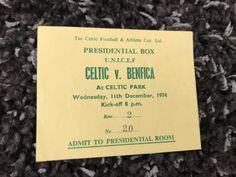 1974 Benfica v Celtic Presidential Box Match Ticket Scarce Original