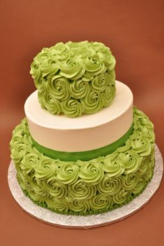 lime green chocolate brown colors for their wedding! Charles and Edna getting married in two weeks! Wedding Cake Roses, Amazing Wedding Cakes, Amazing Cakes, Rose Wedding, Lime Green Weddings, Fantasy Cake, Rosette Cake, Green Cake, Sweet 16 Cakes