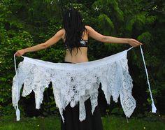 White Lace Pixie Skirt, Festival Wrap Skirt, Pixie skirt, gypsy clothes, Vintage crochet lace More
