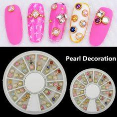 Cheap art provider, Buy Quality art motif directly from China art artwork Suppliers: 1pcs/Wheel KQH247 3d Metal Pearl Nail Art Rhinestones Decorations kits korean nail supplier