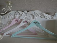 Shabby Cottage Chic Wooden Clothes Hangers