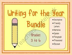 Writing for the Year Bundle from Mrs. Naufal's Nook on TeachersNotebook.com -  - This bundle contains 9 units in my store.  Genres range from descriptive to opinion writing.  Planning templates, rubrics and writing prompts are included.