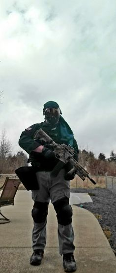 A member of the paintball squad Karbon Ghost. Paintball, Airsoft, Squad, Classroom, Manga