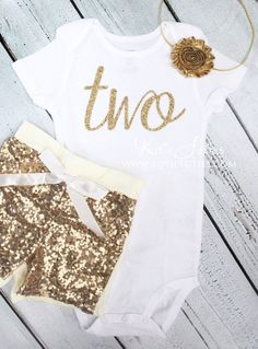 "Gold Glitter Cursive ""two"" Birthday Shirt, Gold Sequin Shorts, and Shabby Headband, baby girl, toddler, cake smash, first birthday, one"