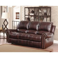 Abbyson Living Madison Premium Grade Leather Pushback Reclining