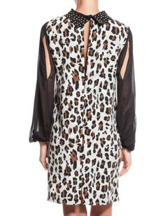 Black brown leopard dress/transparent sleeves,evening Designer Dress/size 38  in Kleidung & Accessoires, Damenmode, Kleider