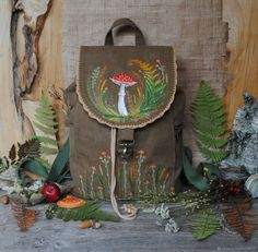 Backpacks in the Julia Linen tale online store Embroidery Art, Learn Embroidery, Needlework, Reusable Tote Bags, Backpacks, Couture, Sewing, Creative, Fabric
