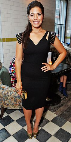 America Ferrera in a sculpted-shoulder dress, gold clutch, gold heels and Nikki Baker earrings (spotted at an End of Watch afterparty) have us totally envious.