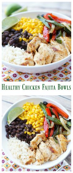 Healthy Meals Healthy Tex Mex Chicken Fajita Bowls, Healthy Mexican Dinner, Chicken Fajitas - Healthy Chicken Fajita Bowls are a delicious way to have a healthy Mexican meal at home that your whole family will love! Healthy Chicken Recipes, Healthy Cooking, Healthy Dinner Recipes, Mexican Food Recipes, Healthy Eating, Cooking Recipes, Drink Recipes, Mexican Cooking, Cooking Games