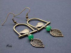 Pierced ears bronze green pearl bird by sisibijoux on Etsy https://www.etsy.com/listing/214401075/pierced-ears-bronze-green-pearl-bird