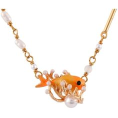 Les Néréides ATLANTIDE GOLDEN FISH WITH PEARLS SHORT NECKLACE ($165) ❤ liked on Polyvore featuring jewelry, necklaces, jewelry necklaces, red, polish jewelry, octopus necklace, fish jewelry, golden necklace and white pearl necklace