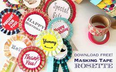 マスキングテープ ロゼット Masking Tape 無料テンプレート Free Download  Rosette #マスキングテープ Masking Tape, Washi Tape, Rose Bouquet, Rosettes, Kids And Parenting, Garland, Origami, Crafts For Kids, Presents