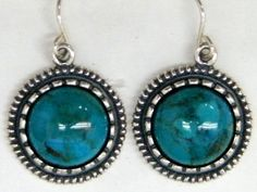 Native American inspired earrings silver Sterling silver earrings set with Eilat stones.  Native American inspired collection of jewelry.  Handcrafted in Israel.  Diameter 1.9 cm