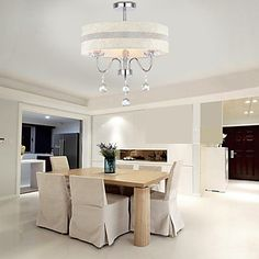Fabric+Ceiling+Crystal+Chandelier+with+3+Lights+–+CAD+$+184.86