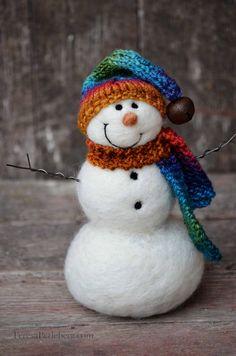 Snowman Solid wool needle felted Snowmen by BearCreekDesign
