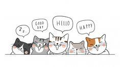 Banner background cute cats say hello Premium Vector Illustration Mignonne, Cute Illustration, Kitten Cartoon, Cute Cartoon, Cartoon Mignon, Animal Gato, Islamic Cartoon, Cat Silhouette, Silhouette Vector