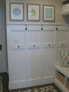Easy board and batten - mudroom organization with hooks