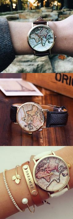 Vintage Wanderlust Map Watch,Flash sale - 80% off for a limited time!!