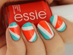 Spektor's Nails | Neon Triangles with Essie - Saturday Disco Fever &...