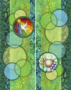 Ordinary Time Banner Design 2 of 4.  A sheer panel with circles Ordinary time banner. Sheer mesh hangs over the front. An embroidered design is attached to one of the circles each side. Change the designs to update once in awhile.  SheBella Birk