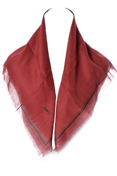2 Vintage Yves Saint Laurent Cashmere Silk Scarves Red and Brown
