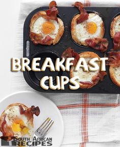 South African Recipes BREAKFAST CUPS (Lisa Ann Pinnock) Breakfast Cups, Savory Breakfast, Muffin Pan Recipes, Mac And Cheese Cups, Martha Stewart Recipes, Mini Quiches, Cooking For A Crowd, South African Recipes, Sticky Buns