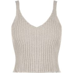 WearAll Sleeveless Rib Knit Crop Top (260 ARS) ❤ liked on Polyvore featuring tops, crop top, shirts, tank tops, grey, sleeveless tops, sleeveless crop top, grey crop top, v neck sleeveless top and gray crop top