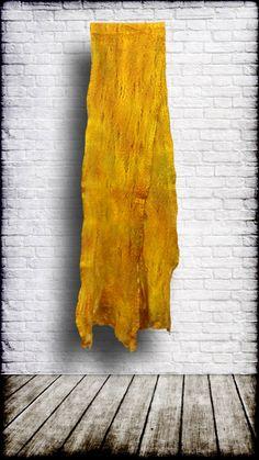Scarf - Cobweb Felt, hand-dyed 50/50 merino wool / mulberry silk - 'Aztec Gold' by ElevatedFibers on Etsy