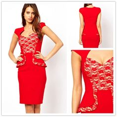 Hybrid Peplum Dress with Lace Insert and Panel Top Bodycon Party Dresses Womens New Sweetheart Neckline LC6159 Free Shipping $89.00