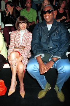 Anna with Andre Leon Talley at Donna Karan, 2000.