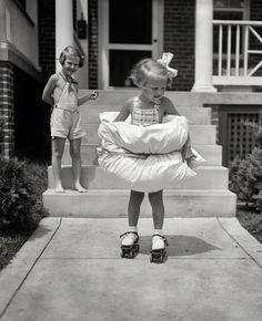 Innovative Pillow Safety: Little Girl on Skates, 1936