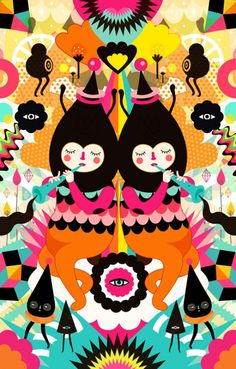 Bright colorful illustration by Muxxi on Behance - SmallforBig.com
