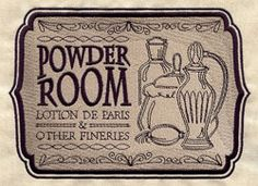 Powder Room Sign - Craft a vintage apothecary with this Powder Room sign on bath decor! On flat fabrics, for a lighter look, try stitching only the black details without the tan background.