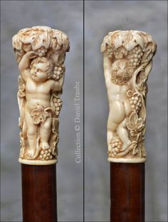 Superbe pommeau en ivoire sculpté de putti cueillant du raisin. Le fût est en bois d'amourette. ( XIXè siècle ) Cannes, Walking Sticks And Canes, Walking Canes, Bone Carving, Ivoire, Beautiful Hands, Statue, Handmade, Lush